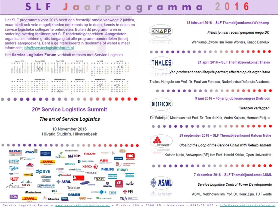 SLF Jaarprogramma 2016